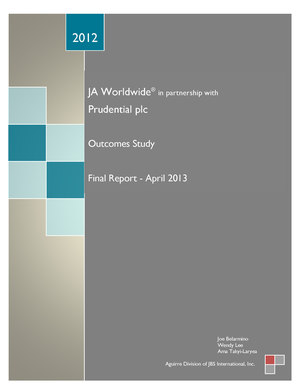 2012 JA Worldwide Prudential Outcomes Report
