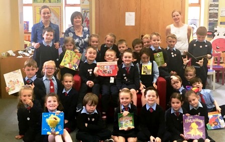 Donegal Co Co County Library visit Mary Elliott Noelle Sandilands Teacher Ms. Gardiner with her Snr Infants