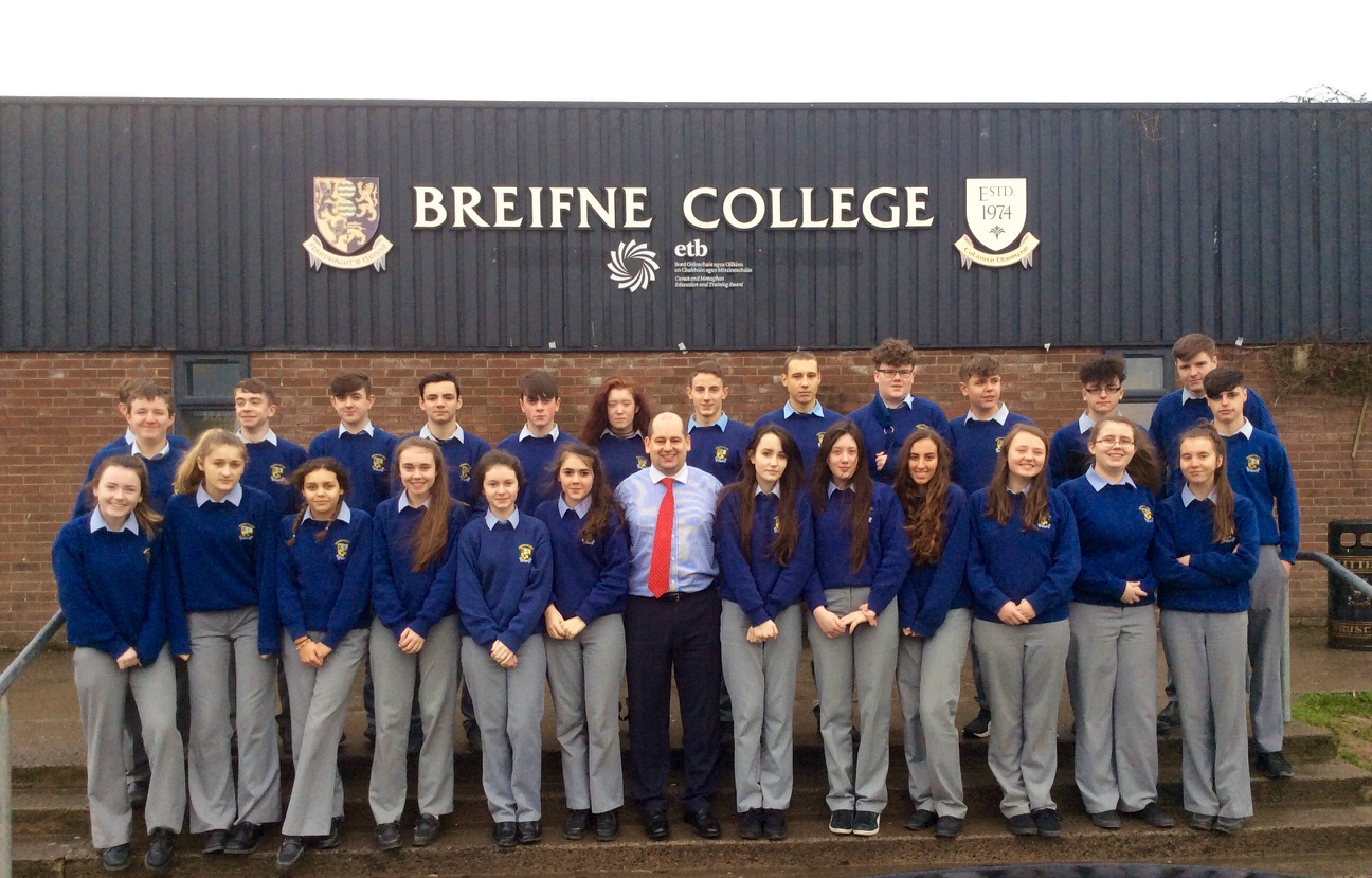 Transition year Students from Breifne College With Business volunteer Daryl Stinson