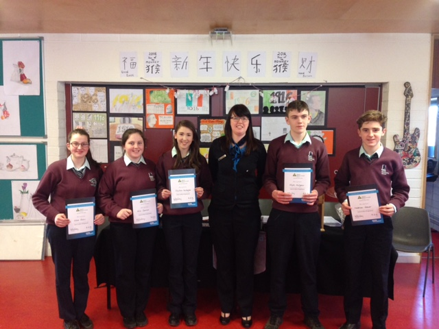 Lucia McCauley Bank of Ireland with Students from Loreto Community School Milford Co. Donegal