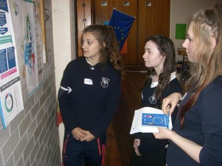 Students examining EU posters during fact finding activity